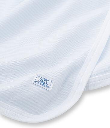 Drap bébé mixte rayé milleraies bleu Fraicheur / blanc Ecume