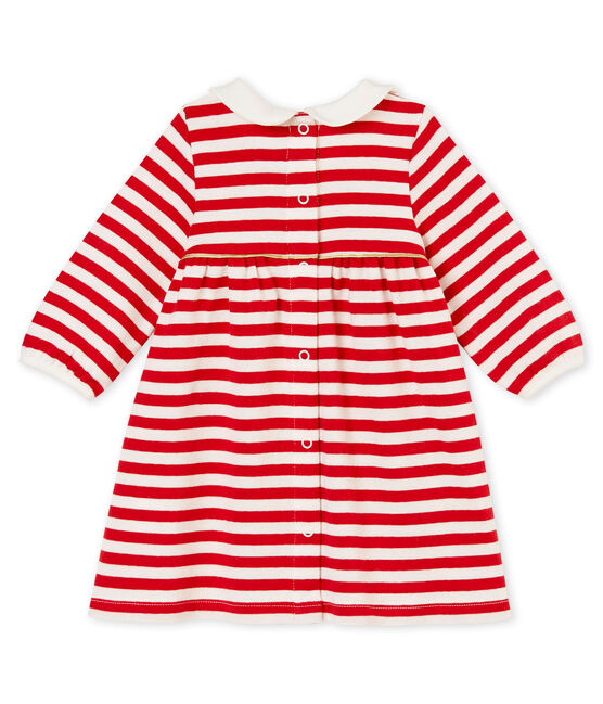 Robe rayée à col bébé fille rouge Terkuit / blanc Marshmallow
