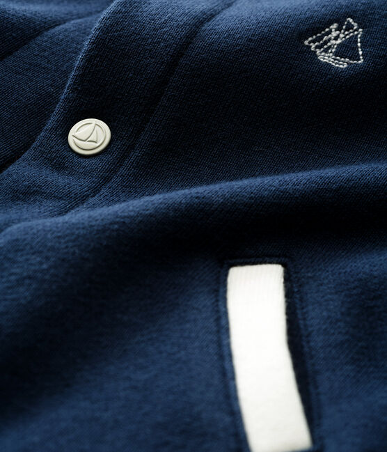 Cardigan bébé garçon en molleton bleu Haddock / blanc Multico