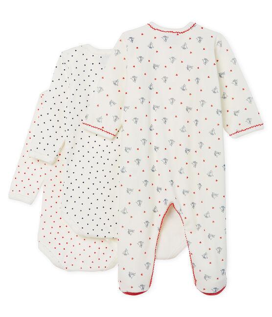 Ensemble bébé fille dors bien en velours et bodies manches longues en côte lot .