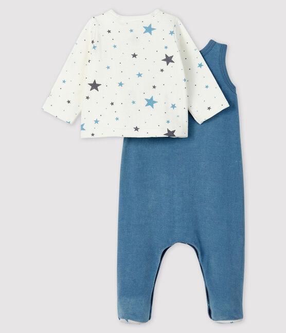 Ensemble 2 pièces étoiles bleues bébé en en velours jaune Pamplemousse / blanc Ecume