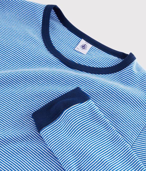 Pyjama milleraies mixte en côte bleu Ruisseau / blanc Marshmallow