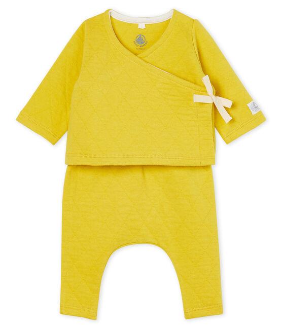 Ensemble deux pièces bébé en tubique matelassé jaune Ble