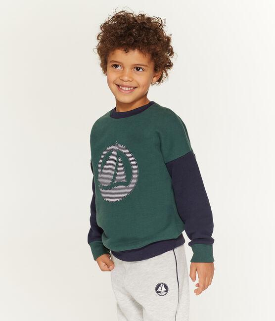 Sweatshirt enfant garçon vert Sousbois / bleu Smoking