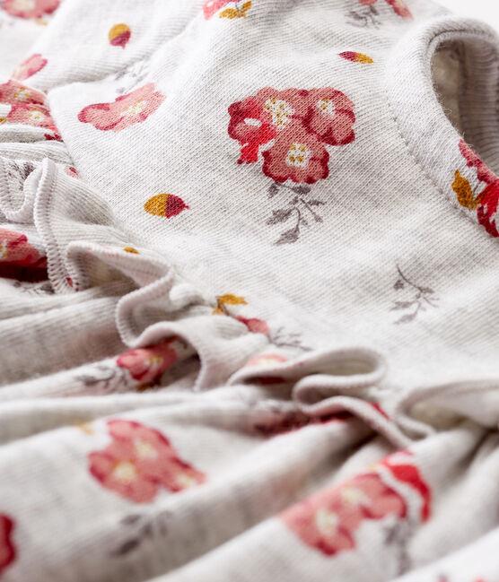 Robe manches longues bébé fille imprimée gris Beluga / blanc Multico