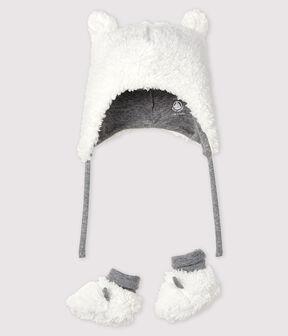 Lot bonnet naissance et chaussons bébé en sherpa lot .