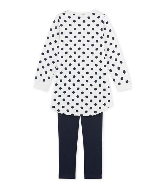 Chemise de nuit fille en bouclette velours bleu Smoking / blanc Lait