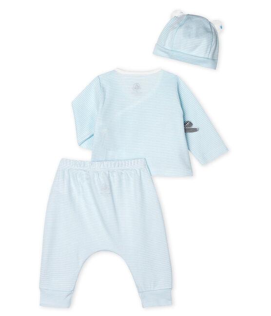 Lot cadeau bébé 3 pièces en côte vert Amandier / blanc Marshmallow