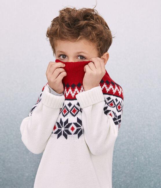 Pull laine et coton enfant graçon blanc Marshmallow / blanc Multico