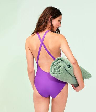 Maillot de bain 1 pièce écoresponsable femme violet Real