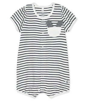 Combicourt bébé fille en côte blanc Marshmallow / bleu Smoking