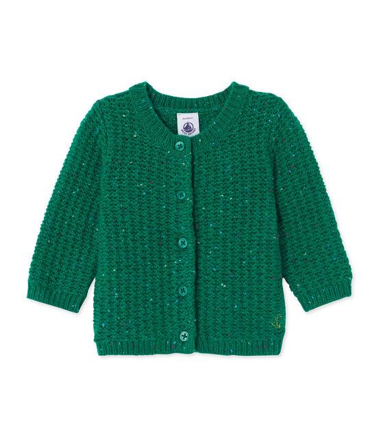 Cardigan bébé fille en laine mélangée vert Gazon
