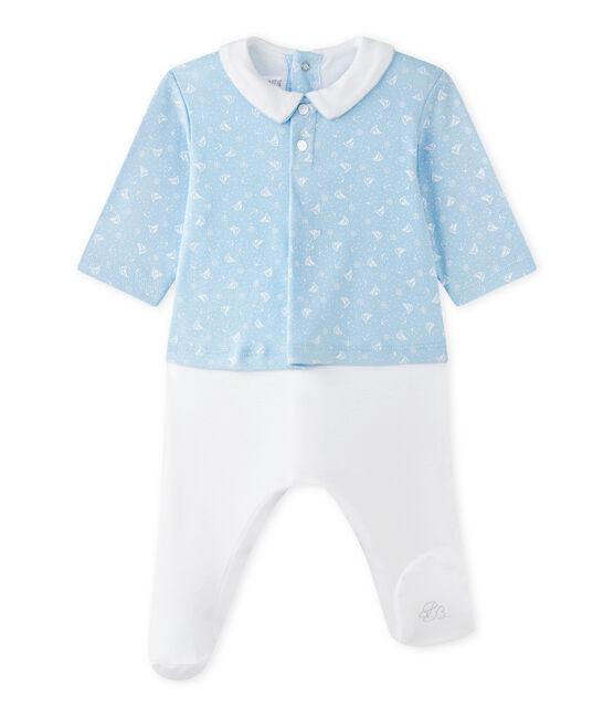 Combinaison guimpe bébé garçon bi-matière bleu Toudou / blanc Ecume