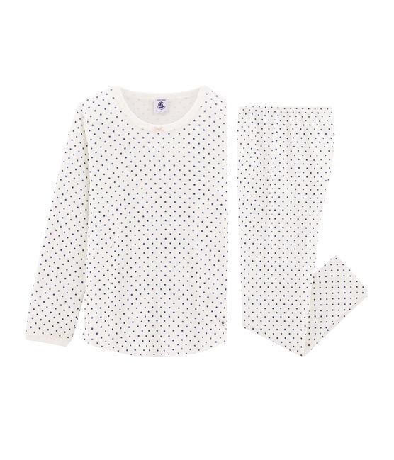 Pyjama petite fille en côte blanc Marshmallow / bleu Major