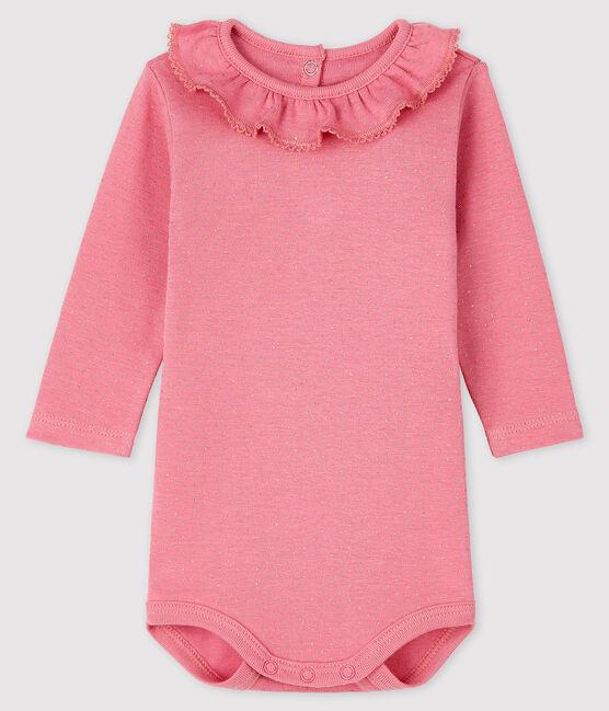 Body manches longues bébé fille rose Cheek / jaune Dore