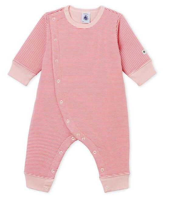 Dors bien sans pieds bébé garçon en tubique rose Cheek / blanc Marshmallow