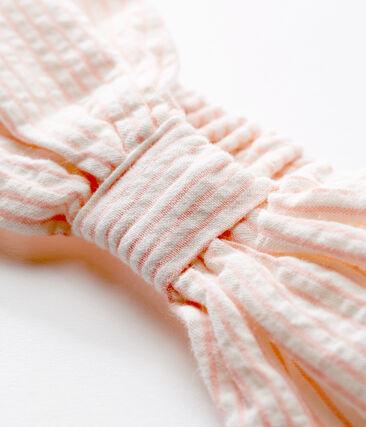 Bandeau cheveux bébé fille rayé blanc Marshmallow / rose Rosako