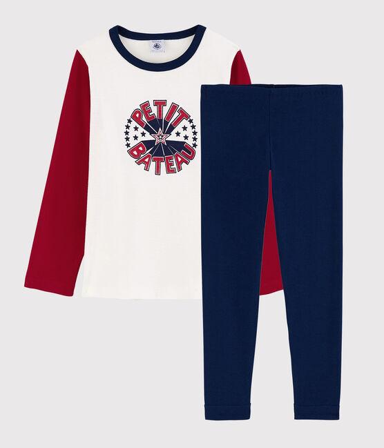 Pyjama petit garçon en coton bleu Medieval / blanc Multico
