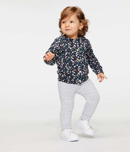Cardigan bébé fille en tubique imprimé bleu Smoking / blanc Multico