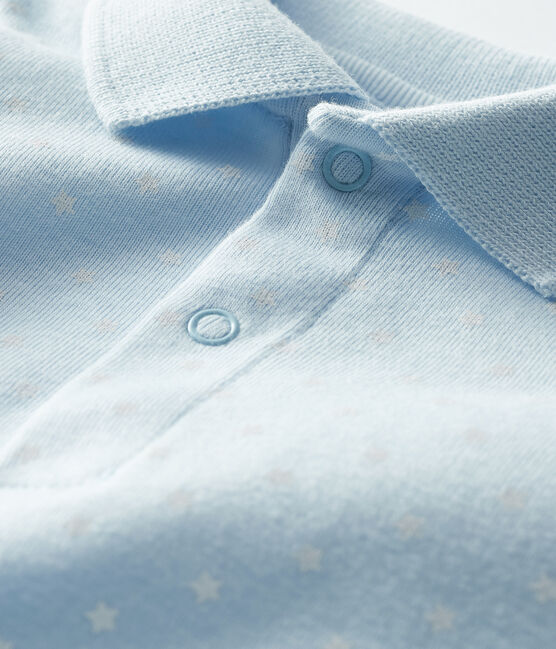 Body col polo imprimé bébé garçon bleu Fraicheur / blanc Marshmallow