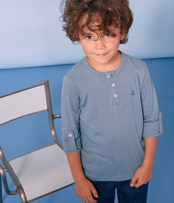 Tee-shirt manches longues enfant garçon bleu Fontaine