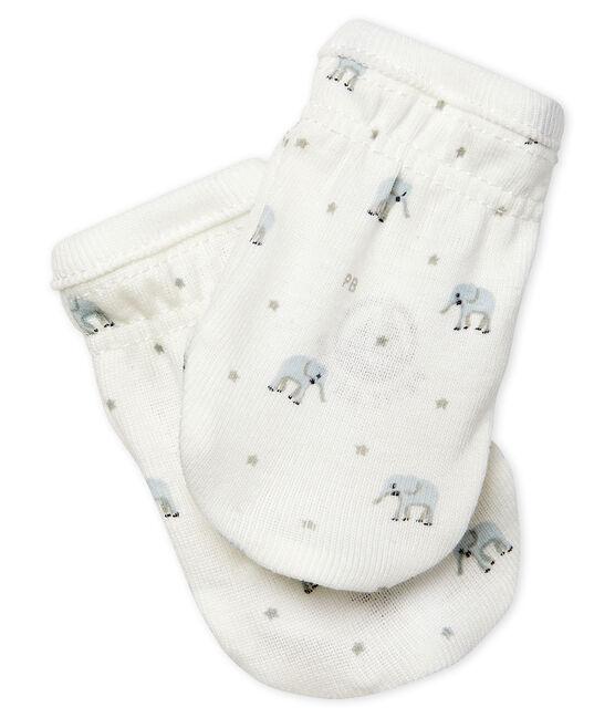 Paire de moufles bébé en côte blanc Marshmallow / blanc Multico