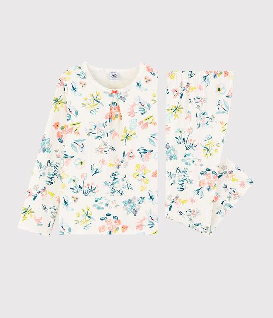 Pyjama fleurs printanières petite fille en tubique blanc Marshmallow / blanc Multico
