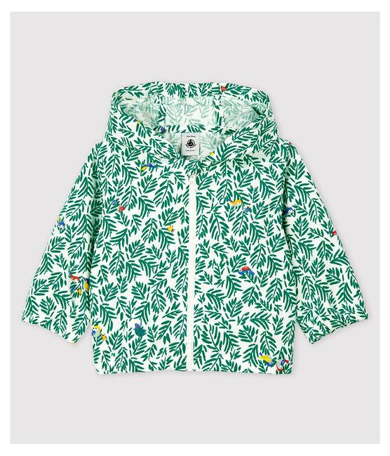 Coupe-vent en maille enduite bébé garçon blanc Marshmallow / vert Gazon