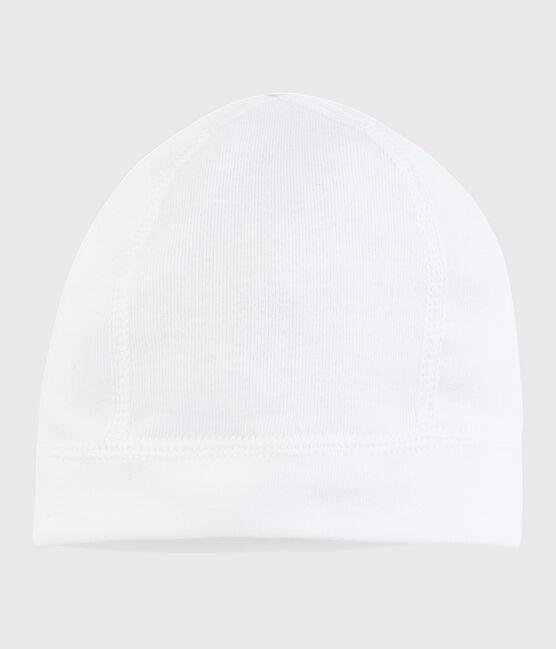Bonnet naissance bébé blanc en coton blanc Ecume