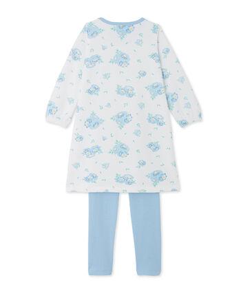 Chemise de nuit en velours imprimée et son legging blanc Lait / bleu Bleu