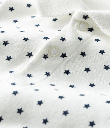 Body col polo imprimé bébé garçon blanc Marshmallow / bleu Smoking