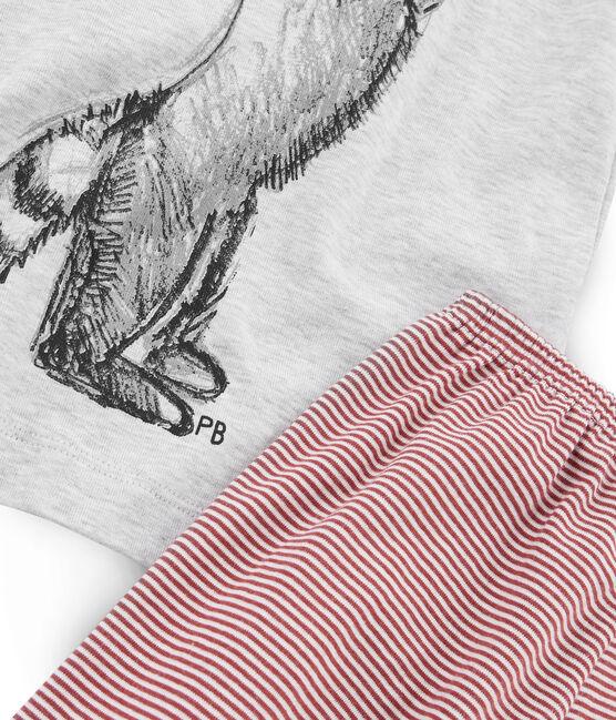 Pyjacourt petit garçon en côte gris Beluga / blanc Multico