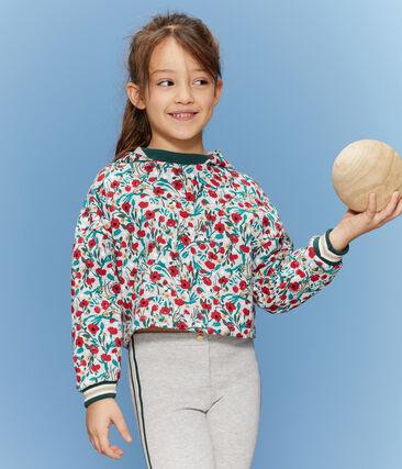 Sweatshirt enfant fille gris Beluga / blanc Multico