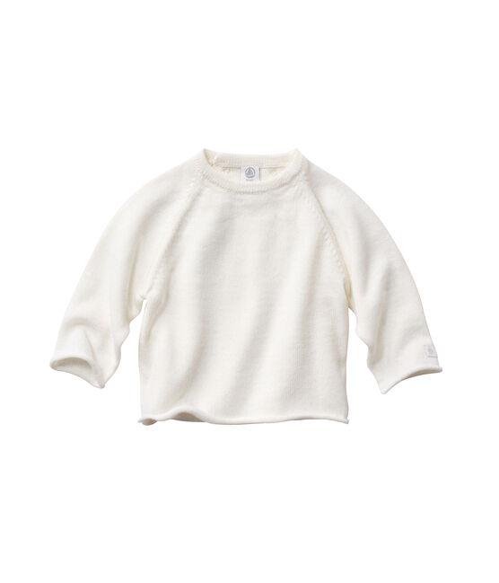 Brassière bébé en laine et coton blanc Lait