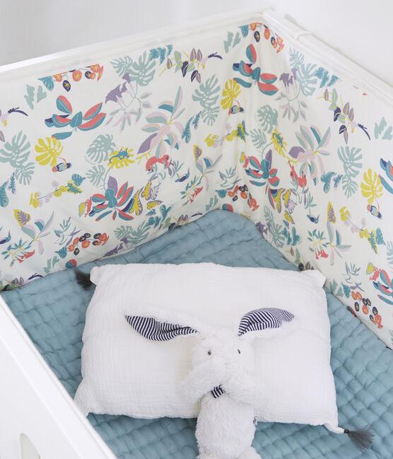 Tour de lit imprimé jungle bébé fille en côte blanc Marshmallow / blanc Multico