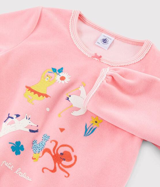 Pyjama rose animaux yoga petite fille en velours rose Gretel