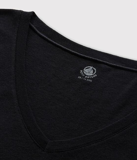 T-shirt col V iconique en coton Femme bleu Smoking