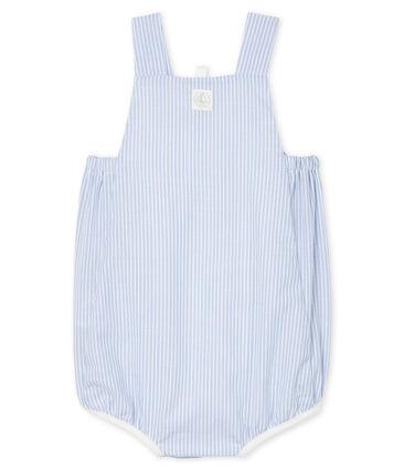 Combicourt bébé garçon en popeline rayée blanc Marshmallow / blanc Multico