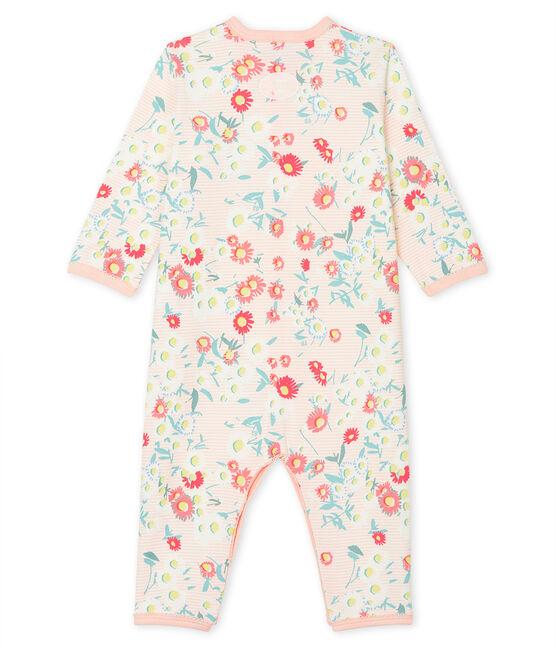 Dors bien sans pieds bébé fille en côte blanc Marshmallow / blanc Multico