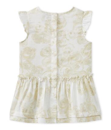 Robe bébé fille en satin imprimée blanc Marshmallow / blanc Multico