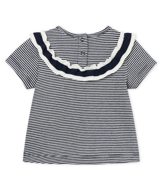Blouse manches courtes milleraies bébé fille bleu Smoking / blanc Marshmallow Cn