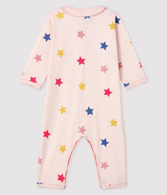 Dors-bien à étoiles sans pieds bébé fille en côte rose Fleur / blanc Multico