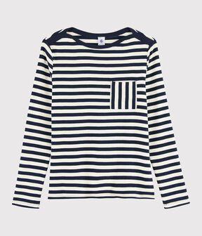 T-shirt rayé Femme bleu Smoking / blanc Marshmallow