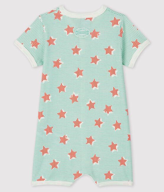Combicourt bleu à rayure et étoiles bébé en côte blanc Marshmallow / blanc Multico