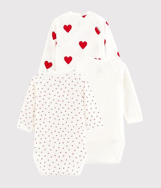 Lot de 3 bodies croisés cœur rouge manches longues bébé en coton biologique lot .
