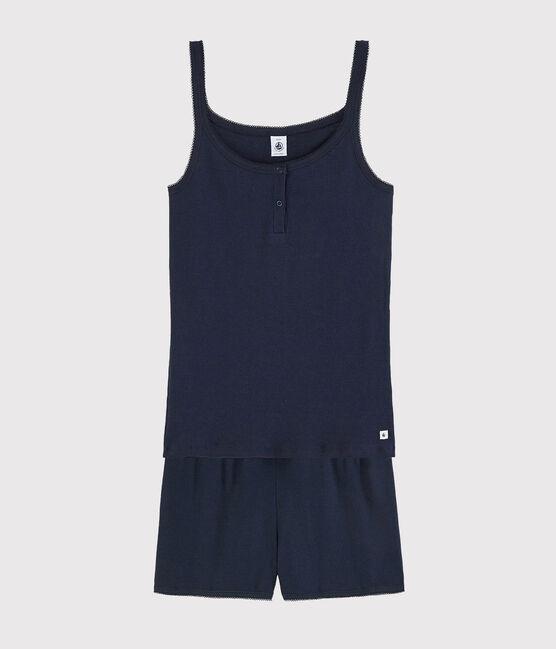 Pyjacourt marine fille-femme en coton bleu Smoking