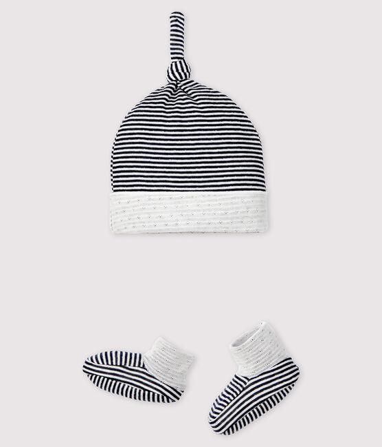 Lot bonnet naissance et chaussons à rayures bébé en tubique lot .