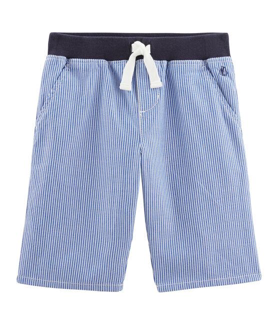 Bermuda enfant garçon bleu Surf / blanc Ecume