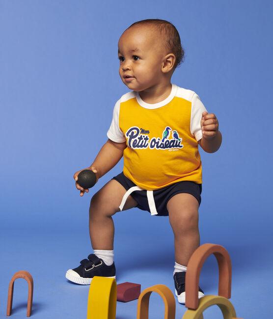 Tee-shirt manches courtes en coton bébé garçon jaune Tehoni / blanc Marshmallow