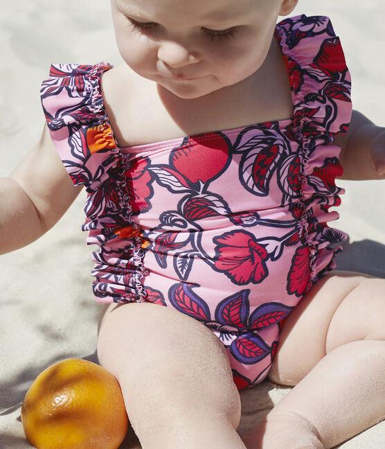 Maillot de bain 1 pièce écoresponsable bébé fille rose Merveille / blanc Multico